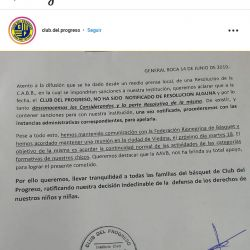 Sportivo América y Del Progreso aclaran
